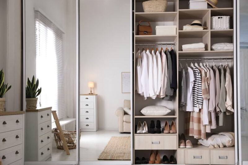 Wardrobe Closet With Different Stylish Clothes, Shoes And Home S